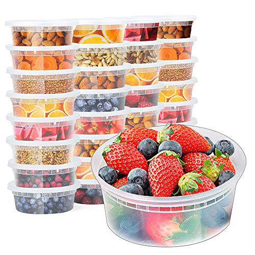 Glotoch 8oz Plastic Food Containers with Lids, Leakproof Slime Small Combo Pack [Reusable, Kitchen Storage,Lunch Meal Prep, Soup,Portion Control] Dishwasher, Microwaveable & Freezer Safe(1 Cup - Food Combo Container Pack
