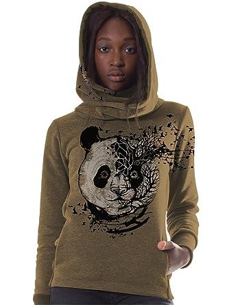 Sudadera en Color Moka con serigrafía Original de Oso Panda - Ropa Urbana para Mujer, Talla M: Amazon.es: Ropa y accesorios