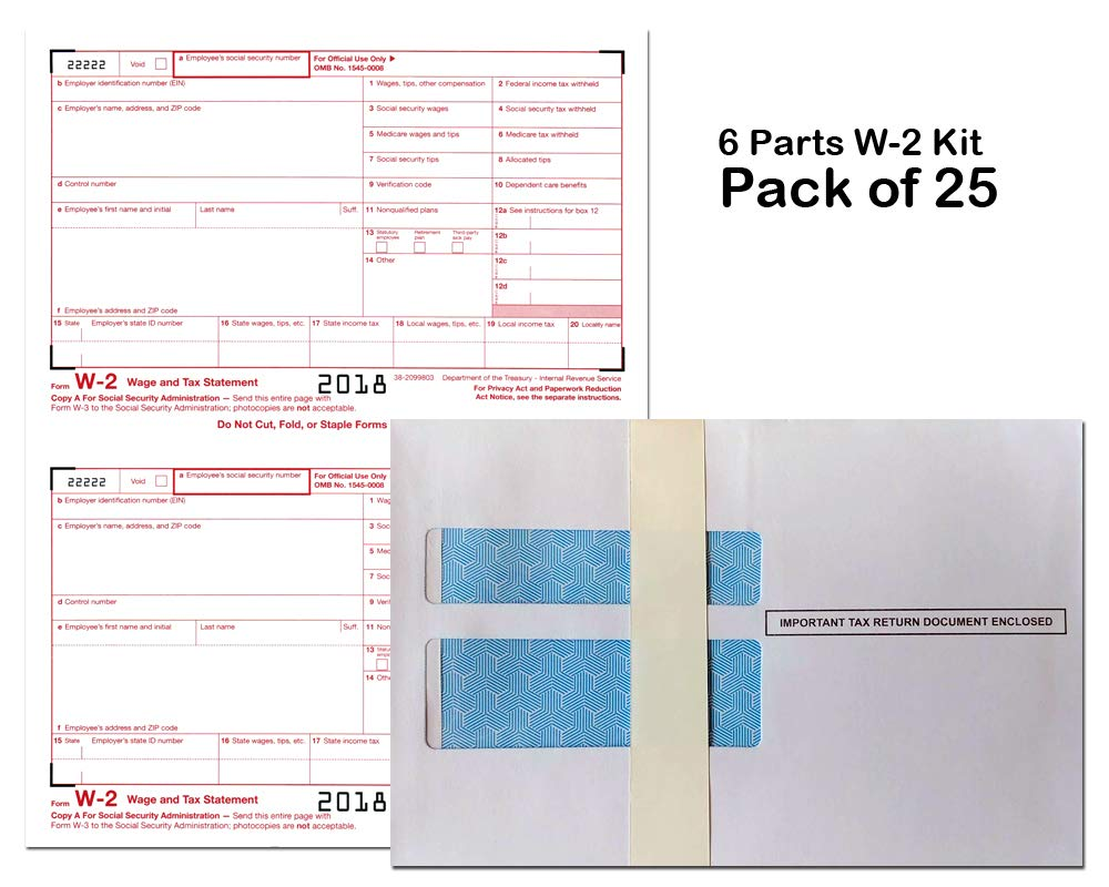 (2018) W-2 Tax Forms (6-Part) Kit with Envelopes for 25 Employees