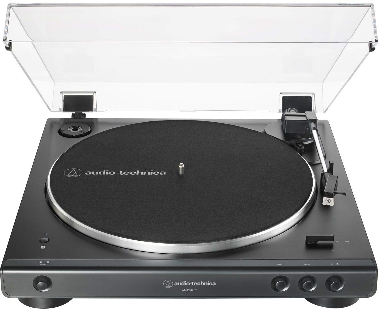 Audio-Technica AT-LP60XBT-BK Fully Automatic Bluetooth Belt-Drive Stereo Turntable, Black, Hi-Fidelity, Plays 33 -1/3 and 45 RPM Vinyl Records, Dust Cover, Anti-Resonance, Die-cast Aluminum Platter by Audio-Technica