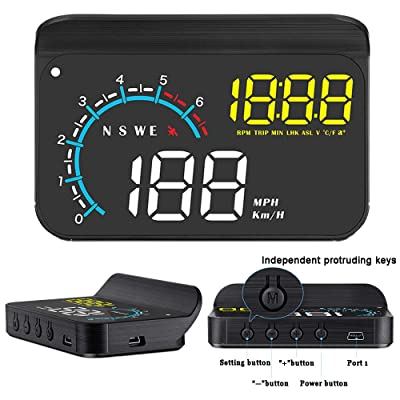 FIUNED Car Head Up Display,Universal Dual System HUD Display OBD 2/GPS Dual USB Interface with Speedometer,Over Speed Alarm, KMH/MPH,Mileage Measurement,Water Temperature,Windshield Projector: Car Electronics
