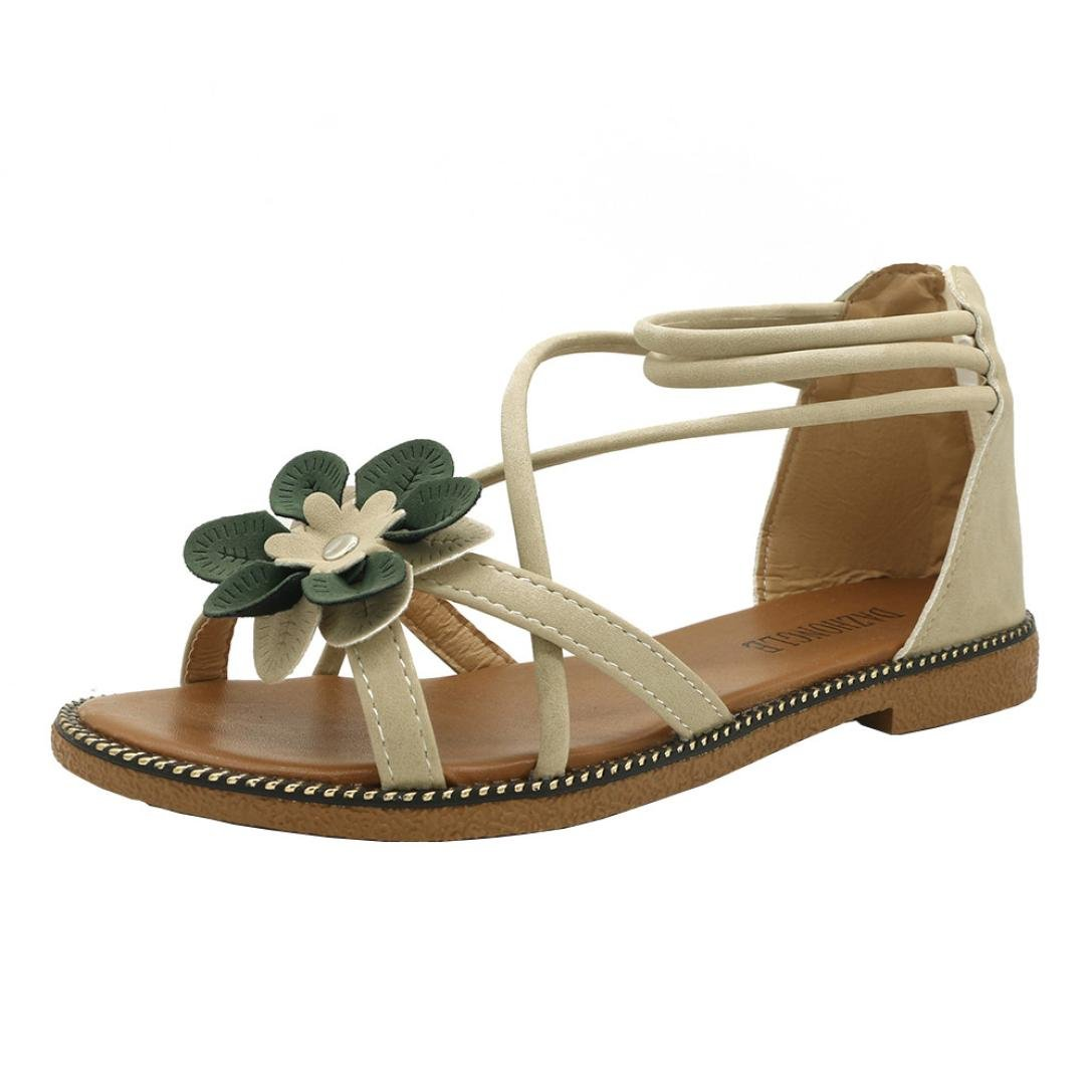 CLEARANCE SALE! MEIbax frauen blume flachem absatz anti - schleudern strandschuhe sandalen peep - toe - sandalen (36, Beige)36|Beige