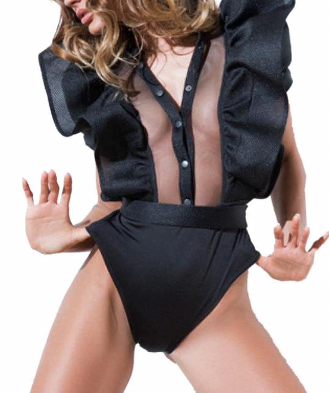 Smeiling Women V-neck Bodysuit Ruffle Sleeve Mesh Patchwork Skinny Romper