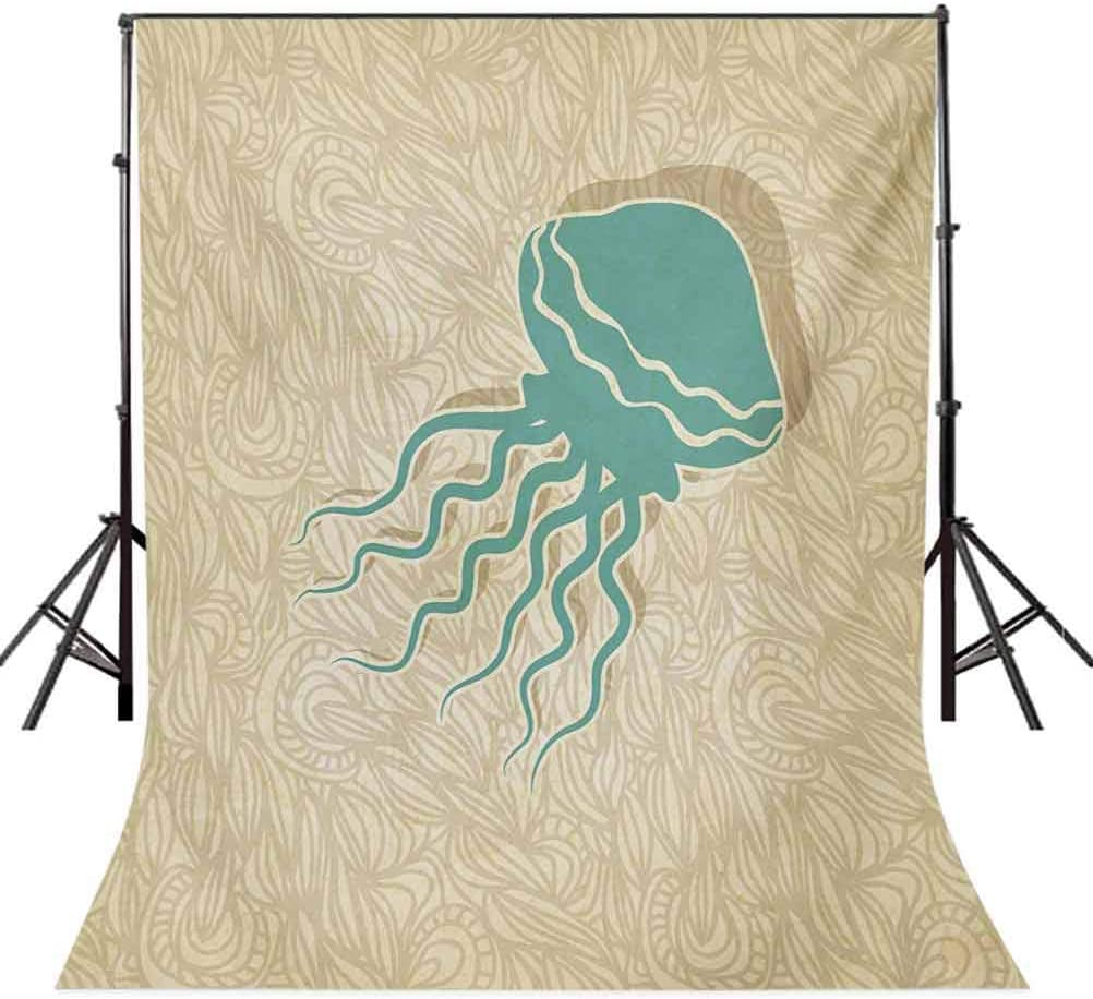Jellyfish 12x10 FT Vinyl Photography Background Backdrops,Funny Sea Creatures in Childish Doodle Style with Tentacles Whimsical Pattern Background for Photo Backdrop Studio Props Photo Backdrop Wall