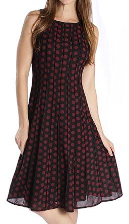 Joseph Ribkoff Black & Burgundy Polka Dot Sleeveless Dress Style 164608 - Size 8