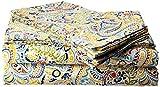 Tribeca Living 300 Thread Count Fiji Paisley Printed Egyptian Cotton Deep Pocket Sheet Set, California King, Multicolor