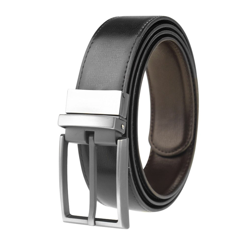 Men's Reversible Black/Brown Leather Dress Belt 1.3 Wide Rotated Buckle Maikun belt1005-Black-105