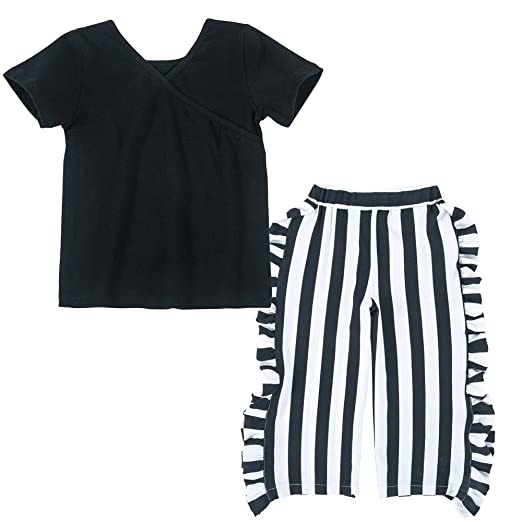 2b4487d4e41c Amazon.com  XUANOU Two Piece Suit Kids Short Sleeve Solid Color Top +  Striped Pants Toddler Baby Girl T-Shirt Ruffle Outfits Sets  Clothing
