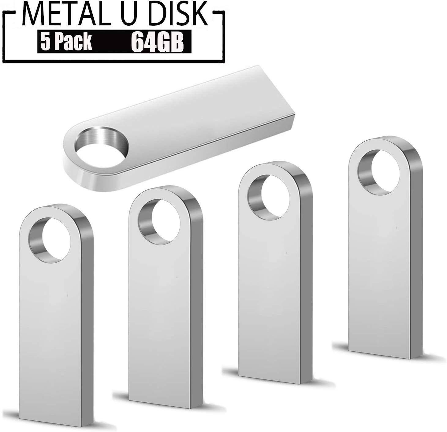 USB Flash Drive,5 Pack 64 GB Pen Thumb USB 2.0 Drives Metal Casing Waterprof Jump Drive Memory External Storage Stick with Keychain Design