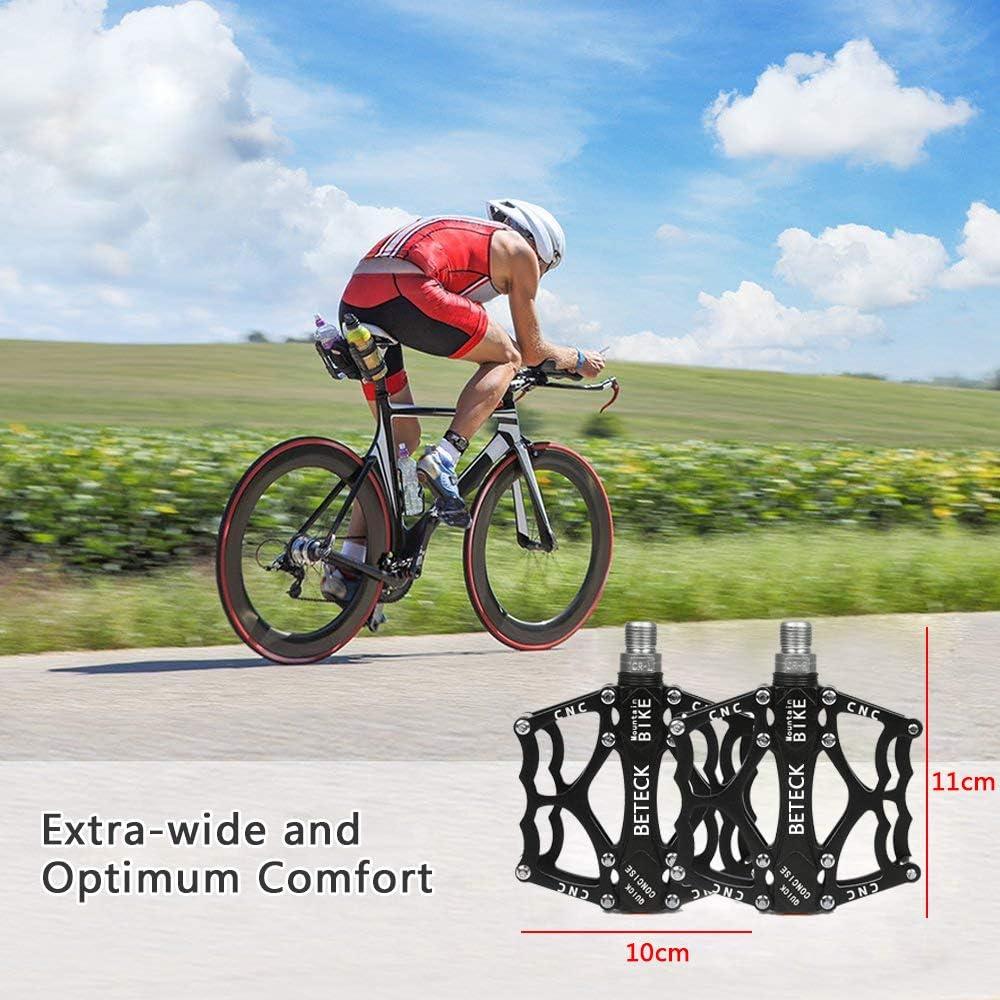 BETECK P/édale V/élo VTT BMX Pedale Plates en Alliage Aluminium /à Double Roulement Scell/é 9//16 Cyclisme Racing