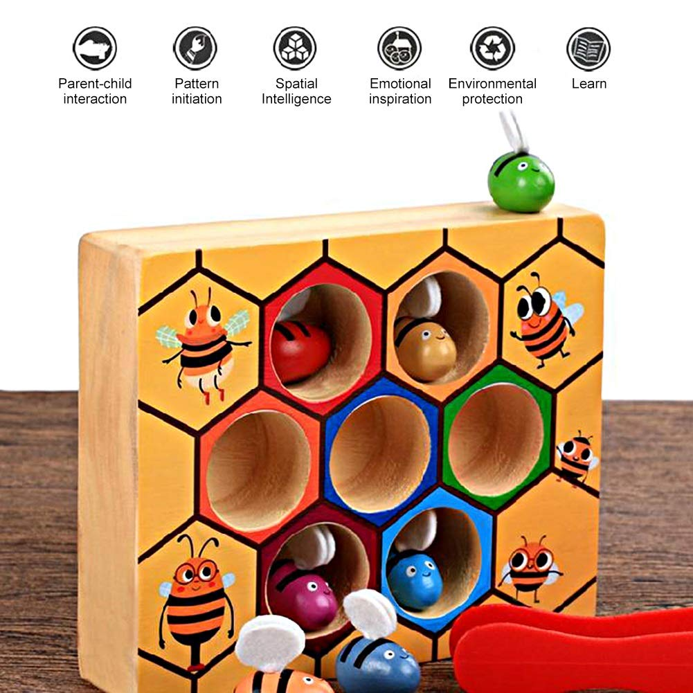 Aeloa Bee Picking-Wooden Bee Picking Fang/übungen Toy Kids Hand greifen Trainingsspiele Tool fr/ühen p/ädagogischen Requisiten