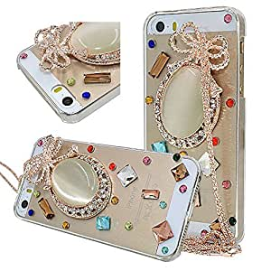 Seedan iPhone 5 5G 5S Bling Case - 3D Handmade Glitter Pebble Crystal Colorful Diamond Rhinestone Clear Back Cover Skin with Chain