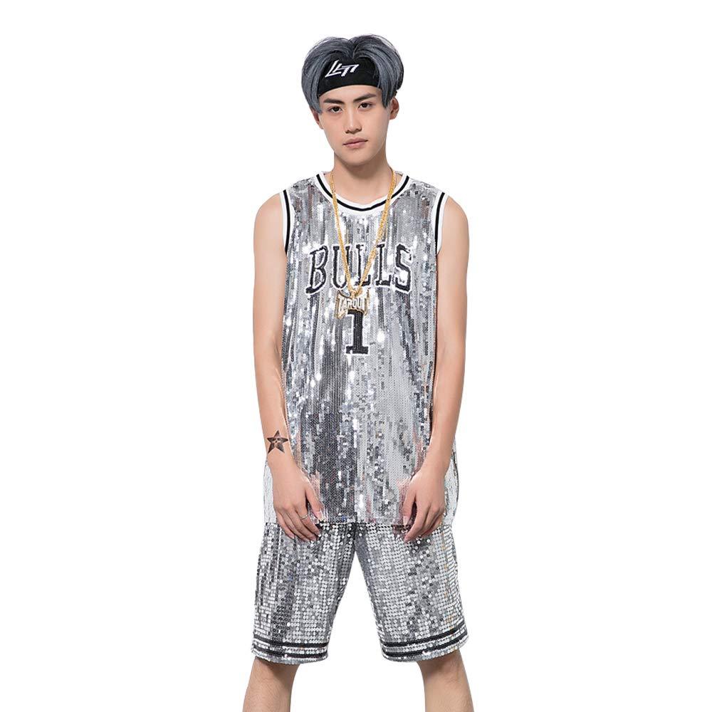 Men and Women Graffiti Sleeveless Dress Ds Hip Hop Jazz Costume Street Dance Bull Sequin Basketball Vest T-shirt Large Size