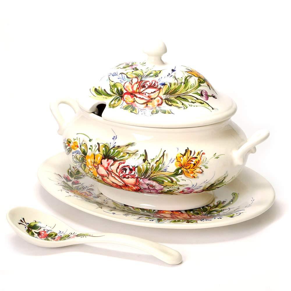 ポルトガル製 陶器 バラ 花柄 手描き ツゥリーン スープ 入れ 蓋つき キャニスター pfa-536f   B07DMFYWDH