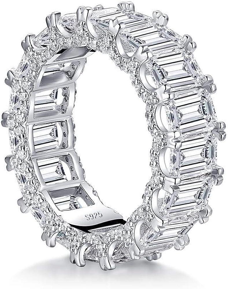 YUNKAI Platinum Plated Sterling Silver Emerald Cut All-Around Band CZ Full Eternity Engagement Wedding Ring