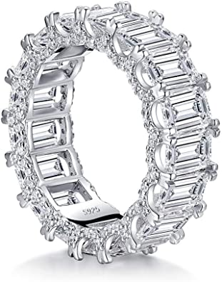 Platinum over Sterling Silver Emerald Cut and Round Cubic Zirconia Eternity Ring