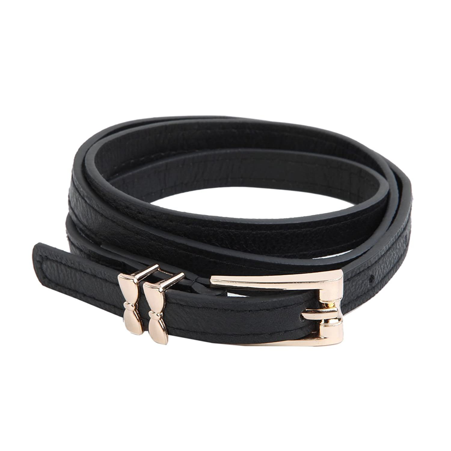 Women's Leather Double Bow Buckle Skinny Fashion Belt - Different Colors