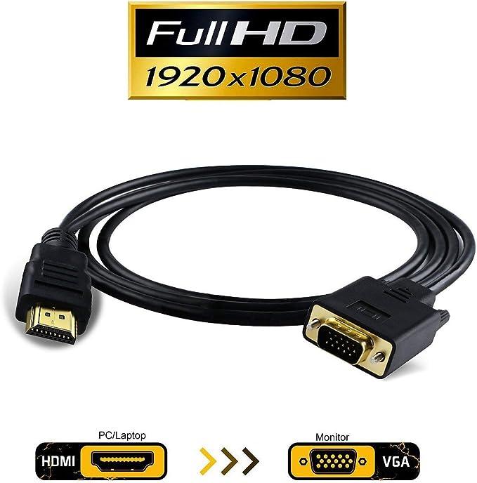 White Black New HDMI F to VGA M Converter+Audio Cable 1080P Signal Output L2KD