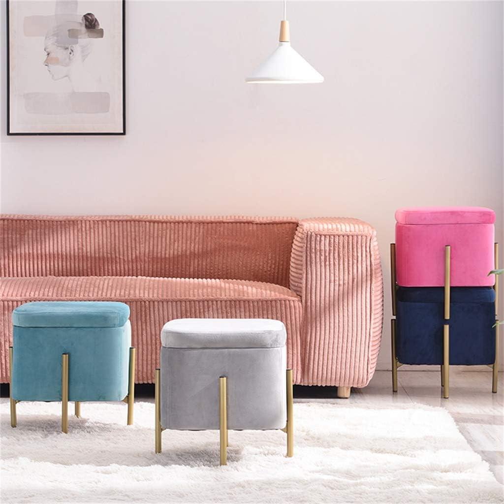 Moderner osmanischer Fußschemel Home Sofahocker mit Aufbewahrungsbox Stoff Schuhwechselhocker Stilvoller Akzenthocker für Eingangshalle Schlafzimmer Study Square Pink