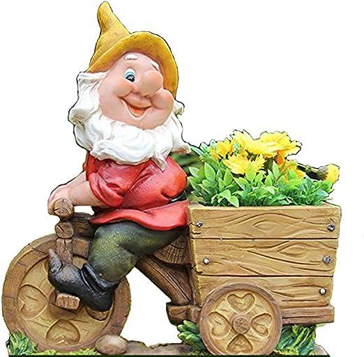 Diseño enano con cabeza de flor NF 15156-2 Bicicleta XL 36 cm Alto Deko Jardín enano figuras en miniatura Decoración Diseño: Amazon.es: Jardín