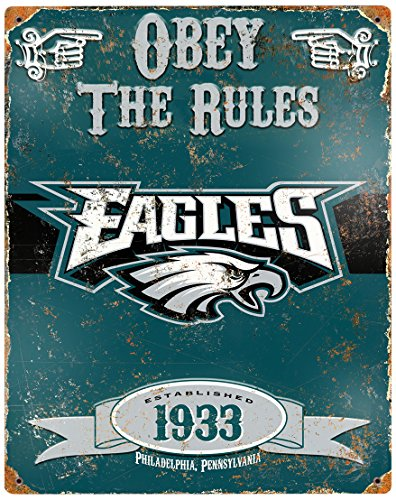 Party Animal NFL Embossed Metal Vintage Philadelphia Eagles Sign - Philadelphia Eagles Nfl Metal