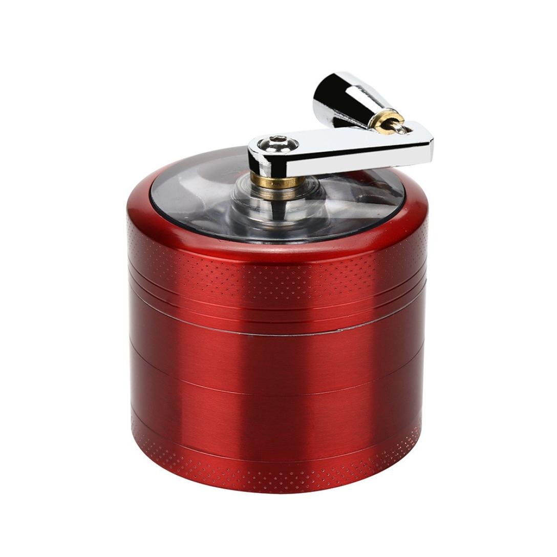 Spice Herb Grinder, Staron 4-layer 54mm Hand Shake Metal Type Herbal Herb Tobacco Grinder Smoke Grinders with Handle Spice Grater (Red)