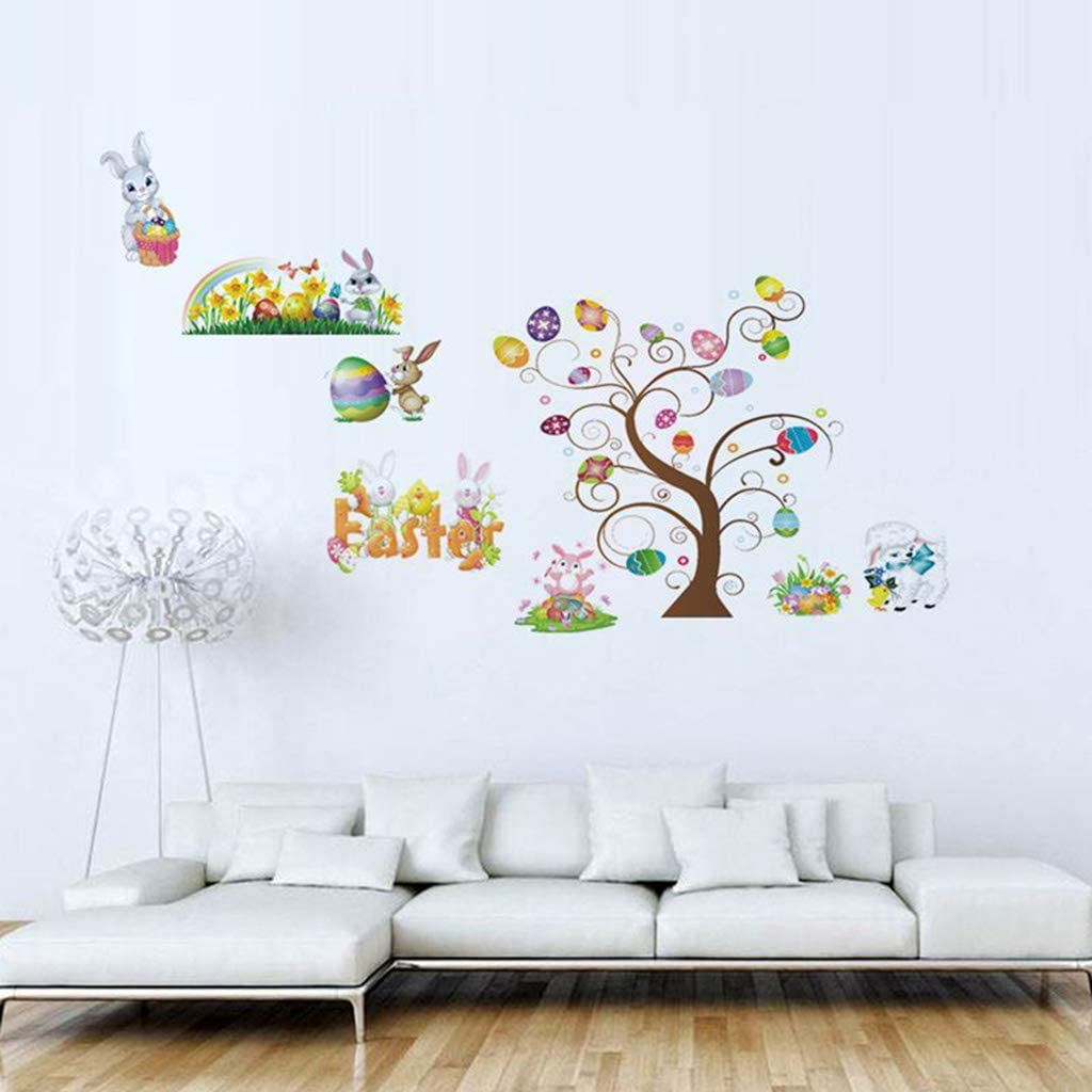 N//A// SWEETWU Easter Window Clings Decals Tree Bunny Egg Sticker for Wall Door Home Decoration