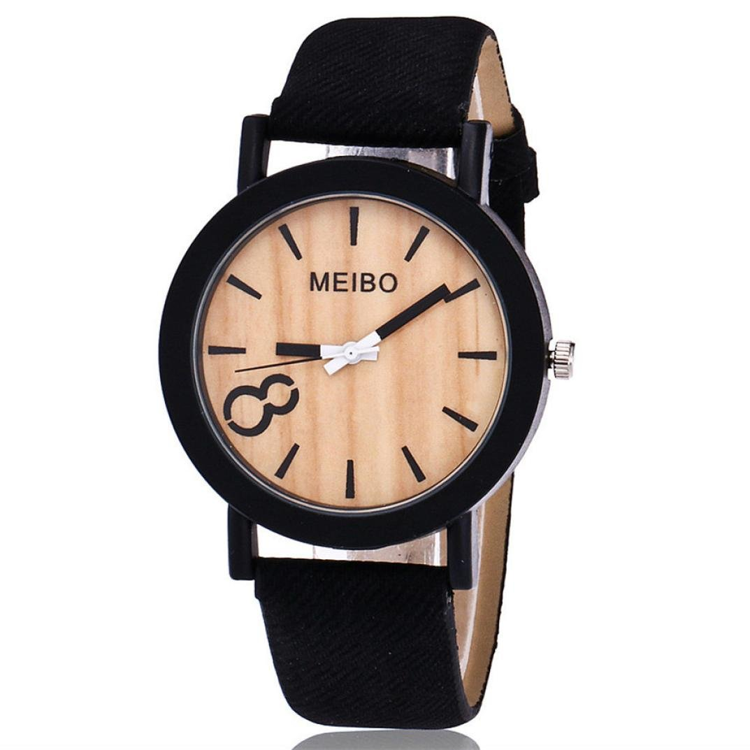 Amazon.com: Mens Watch,Artistic Modeling Wooden Quartz Bracelet Leather Wristwatch Clock Chimes Axchongery (A): Clothing
