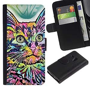 eJoy---La carpeta del tirón la caja de cuero de alta calidad de la PU Caso protector - Samsung Galaxy S3 MINI 8190 - --Abstract Colorful House Cat Butterfly