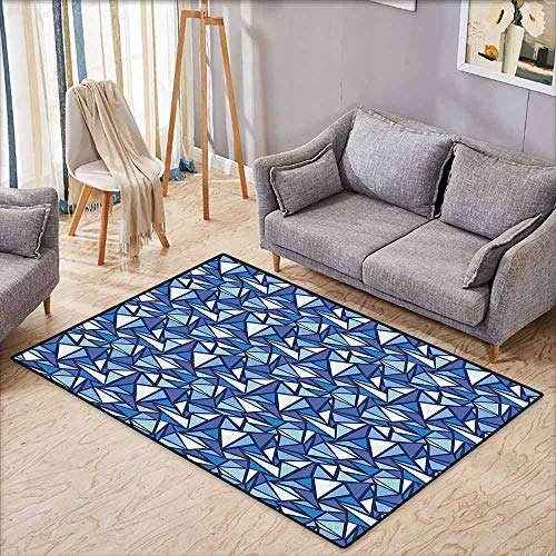 Rectangular Rug,Blue Abstract Geometrical Pattern with Triangles in Various Blue Tones Frost Ice Refraction,Anti-Static, Water-Repellent Rugs,4'7