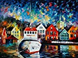 Boat in a Safe Haven is a Limited Edition print from the Edition of 400. The artwork is a hand-embellished, signed and numbered Giclee on Unstretched Canvas by Leonid Afremov. Embellishment on each of these pieces will be slightly different, but the ...