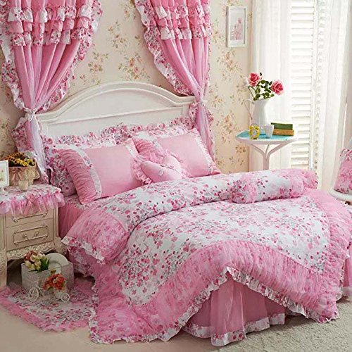 Price comparison product image 4-Piece Bed Set 100% Cotton Pink Pastoral Floral Ruffle Lace Princess Duvet Cover Bed Sheet Pillow Cases Full