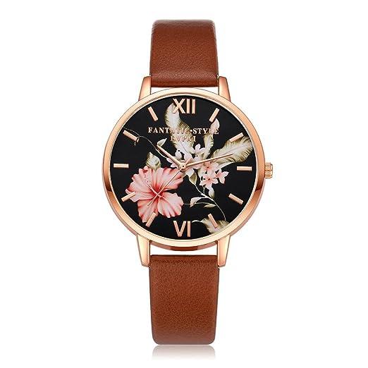 Yivise Reloj de Pulsera con Esfera Redonda y Estampado Floral de Cuarzo Analógico con Banda de Cuero y Relojes Vintage Clásicos(C): Amazon.es: Relojes
