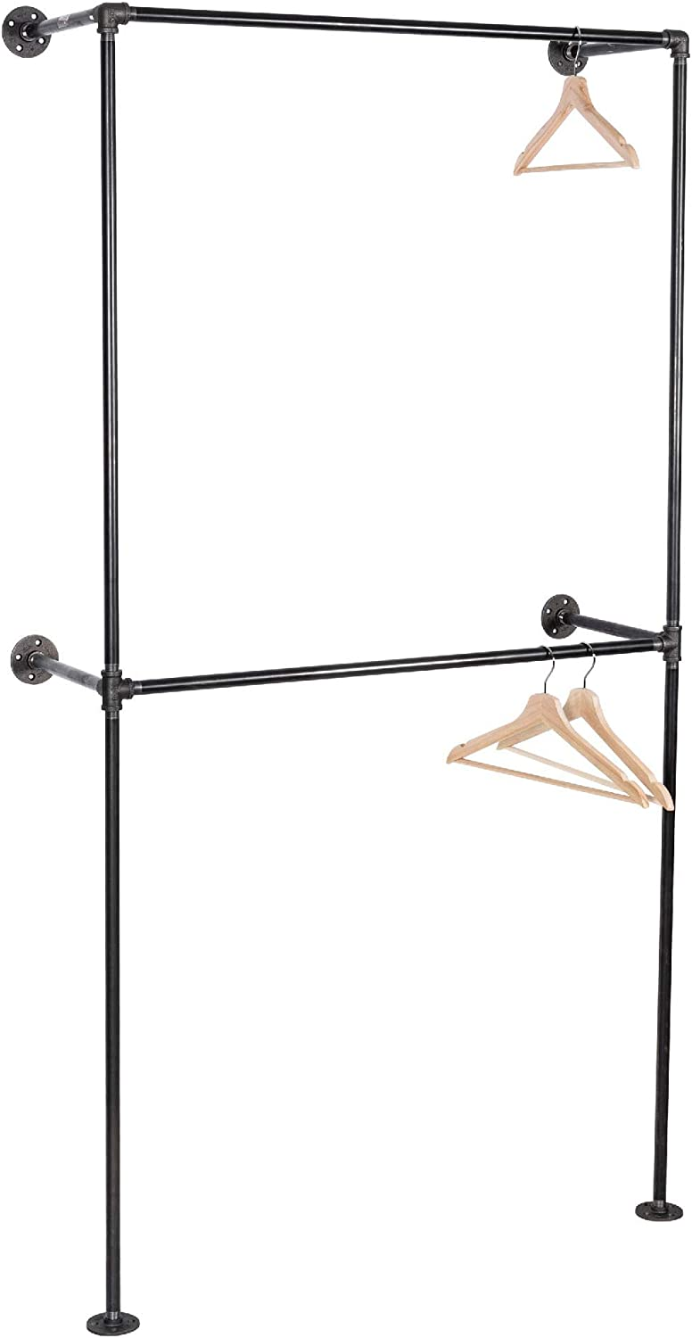 PIPE DÉCOR Wall Mounted Industrial Pipe Clothing Rack, Commercial or Residential Wardrobe Clothes Display, Heavy Duty Rustic Vintage Steel Grey Black Metal Garment Frame, 2 Tier Deluxe Design