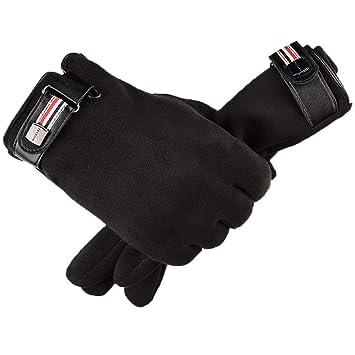 LAOWWO Gants Tactiles Hiver Noir Gants Doigts Complets en Daim pour Homme  Femme 552b9edaec3