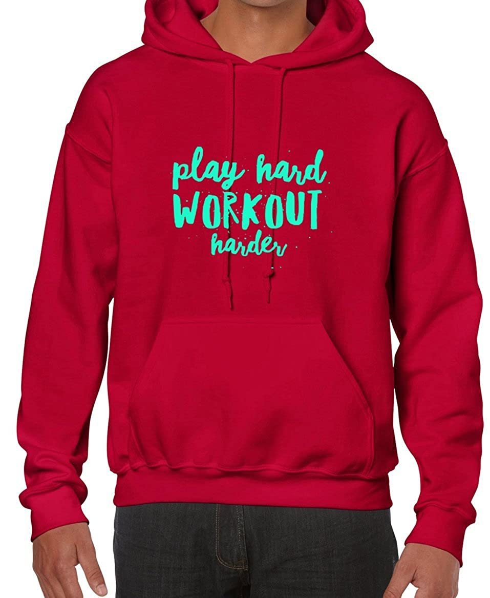 Amazon.com: AW Fashions Play Hard Work Out Harder - Workout Tee Unisex Hooded Sweatshirt: Clothing
