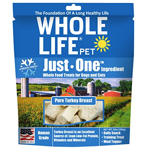 Whole Life Pet Healthy Dog and Cat Treats Value Pack, Human-Grade Whole Turkey Breast, Protein Rich for Training, Picky Eaters, Digestion, Weight Control, Made in the USA, 10 Ounce