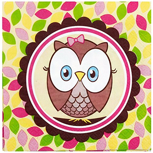 1st Birthday Owl Party Look Whoo's 1 Pink Lunch Napkins