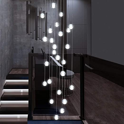 HongTeng 25 Bola de Cristal Escalera Arañas largas Luces múltiples ...