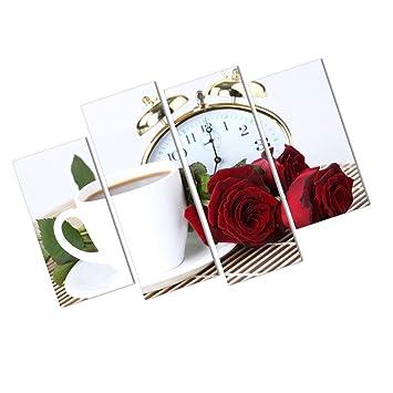 Mengonee 4 Paneles Aceite de Rosa Pintura Taza de café del Reloj del Arte del Cartel de la Pared del Aceite Fotos del Hotel Salón Decoración: Amazon.es: ...