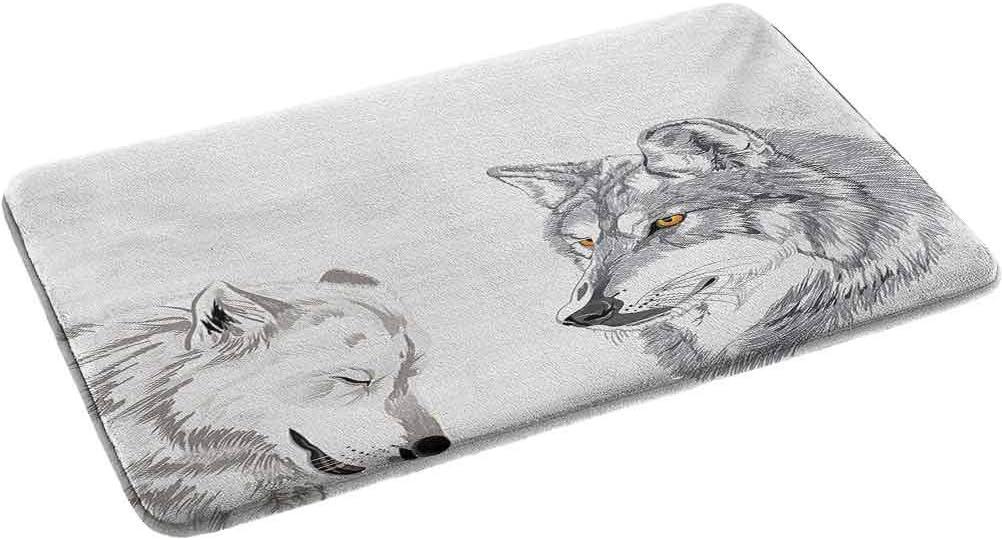 Amazon Com Sketchy Non Slip Bathroom Rug Shag Shower Mat Two Wolf Portraits Sleeping Hunting Carnivore Animals Nature Wildlife Theme 2 X 2 92 Feet Luxury Plush Comfortable Carpet For Bath Room Home Kitchen