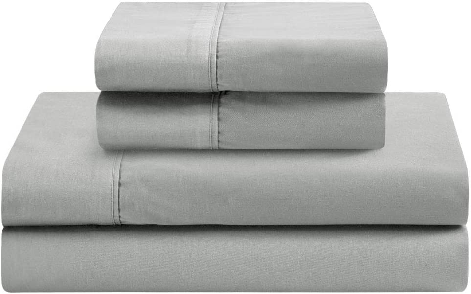 400 Thread Count Premium Cotton Sheet Set - Extremely Soft, Durable Weave, Reinforced Elastic Corners - King, Silver