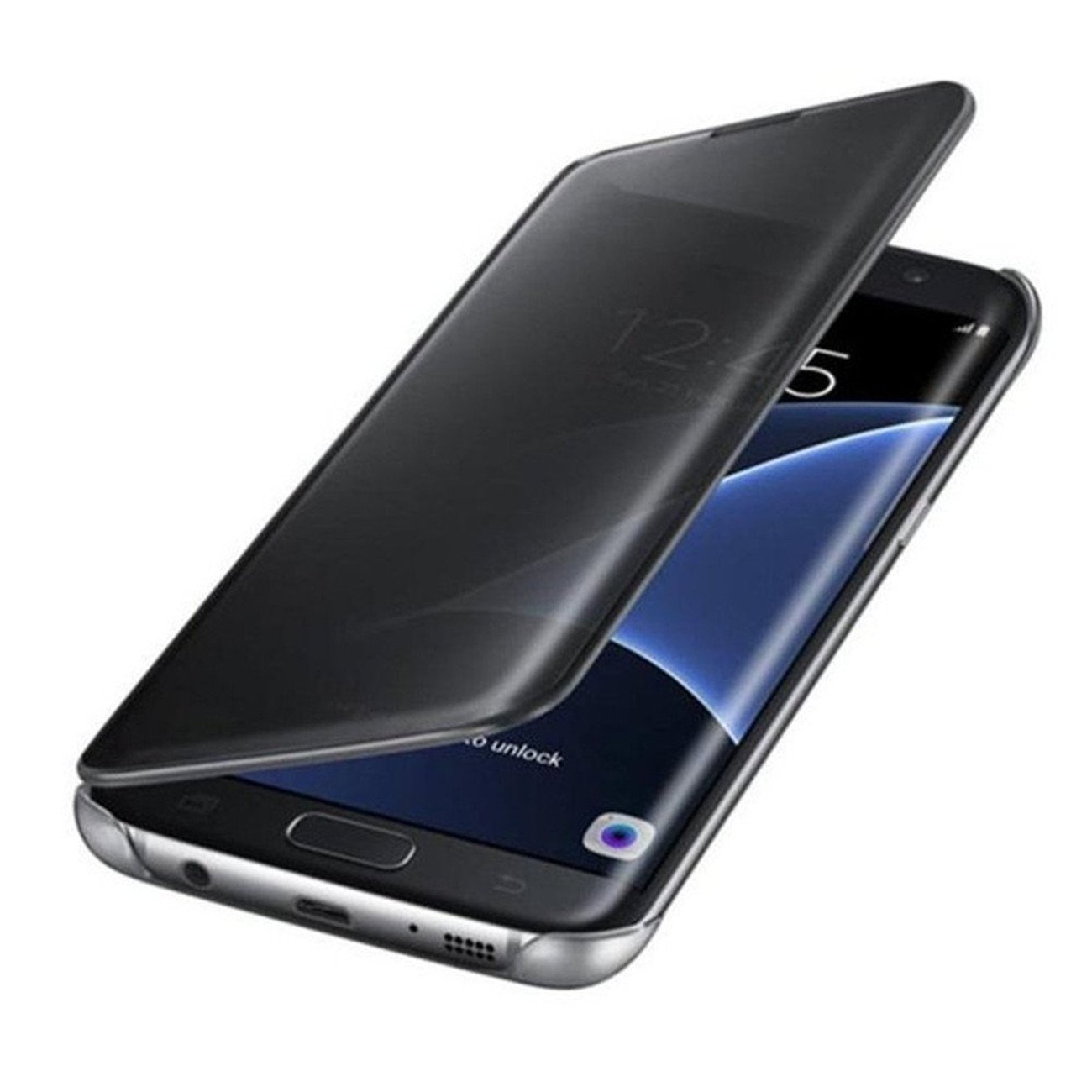 huge selection of 28a3c a8047 Protective Case Compatible with Galaxy S8 Luxurious Shiny Clear View Mirror  Flip PC Plating
