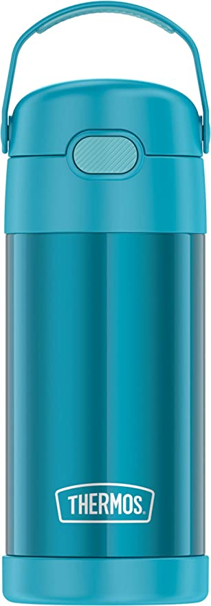 THERMOS FUNTAINER 12 Ounce Stainless Steel Insulated Kids Straw Bottle, Teal