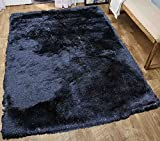 Cheap Glitter Shag Shaggy Furry Fluffy Fuzzy Sparkle Soft Modern Contemporary Thick Plush Soft Pile Black Charcoal Two Tone Area Rug Carpet Bedroom Living Room 8×10 Sale Discount ( Harmony Black )