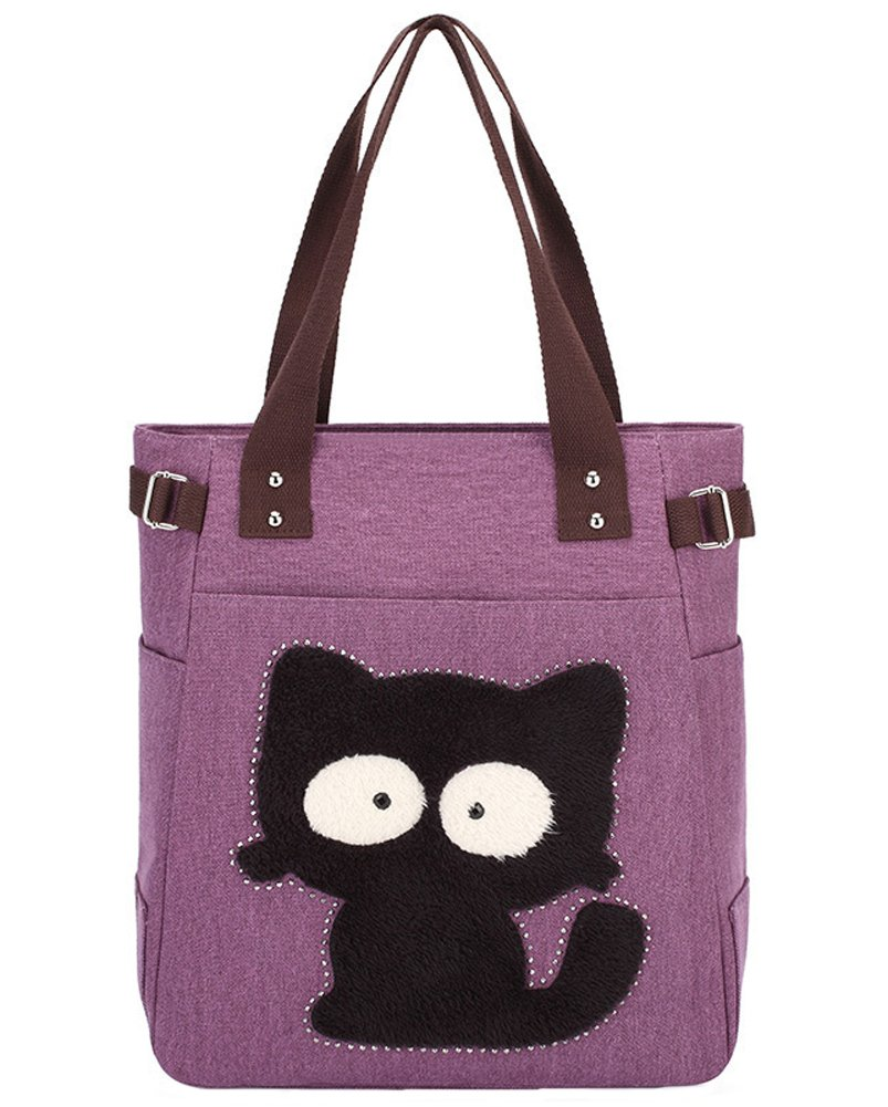 Myosotis510 Cute Big Eyes Cat Canvas Shoulder Tote Bag