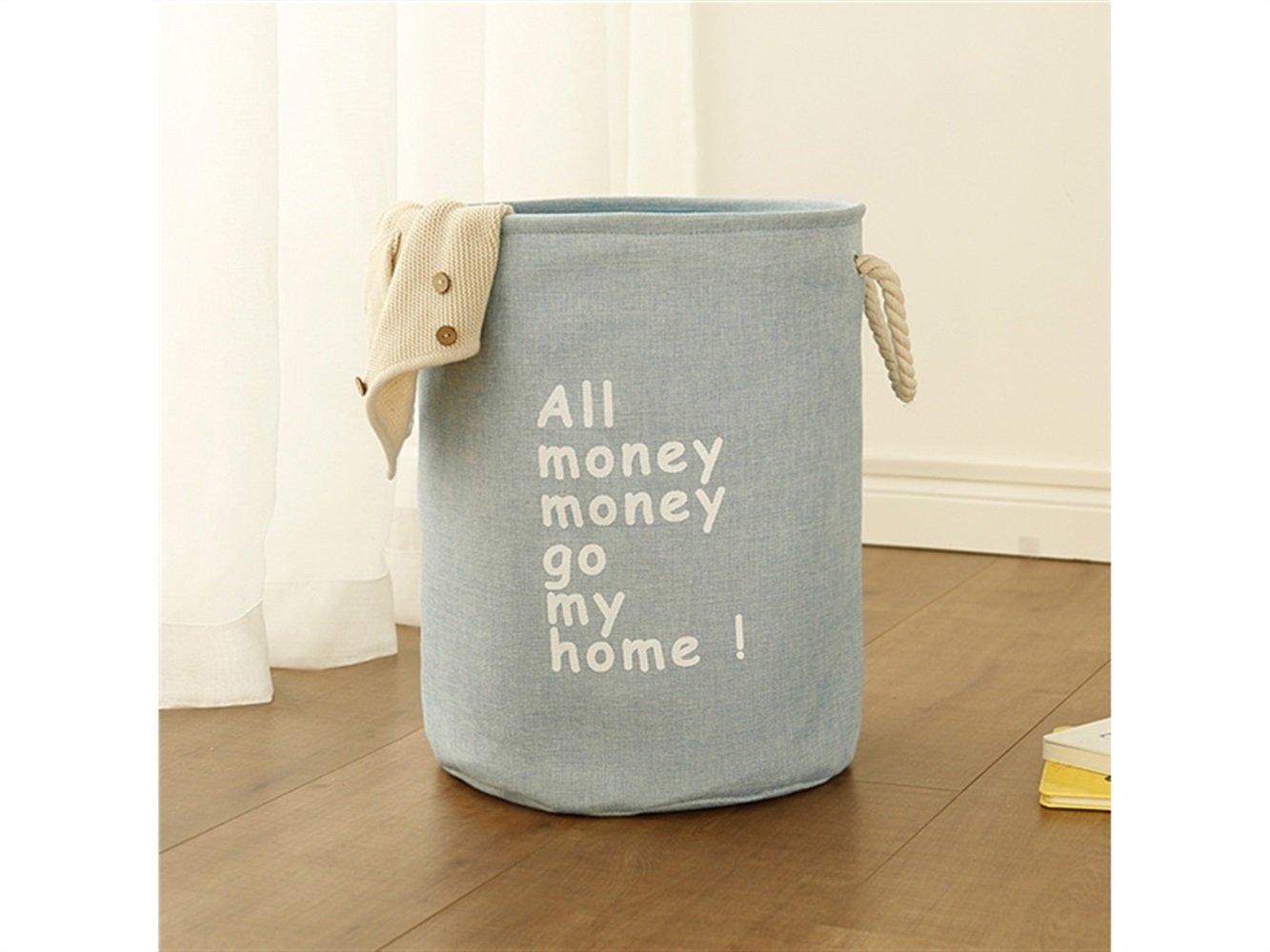 Gelaiken Lightweight Cylindrical Tote Storage Bucket Cotton and Linen Bucket Sundries Storage Bucket(Blue)