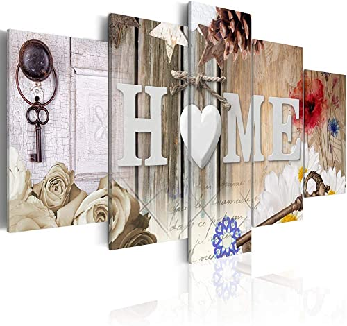 YHY ART Large Home of Love Wall Art Canvas Framed Painting 5 Piece