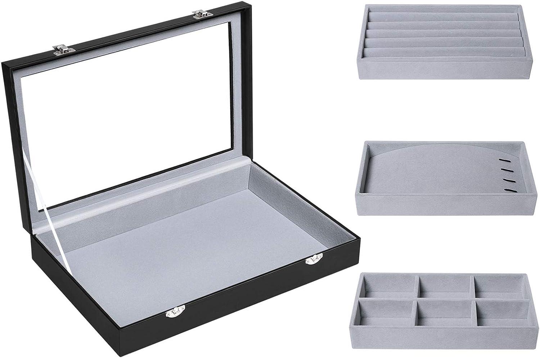 SONGMICS Black Leather Jewelry Box Display Tray Show Case Storage Organizer Large Glass Top UJDS306
