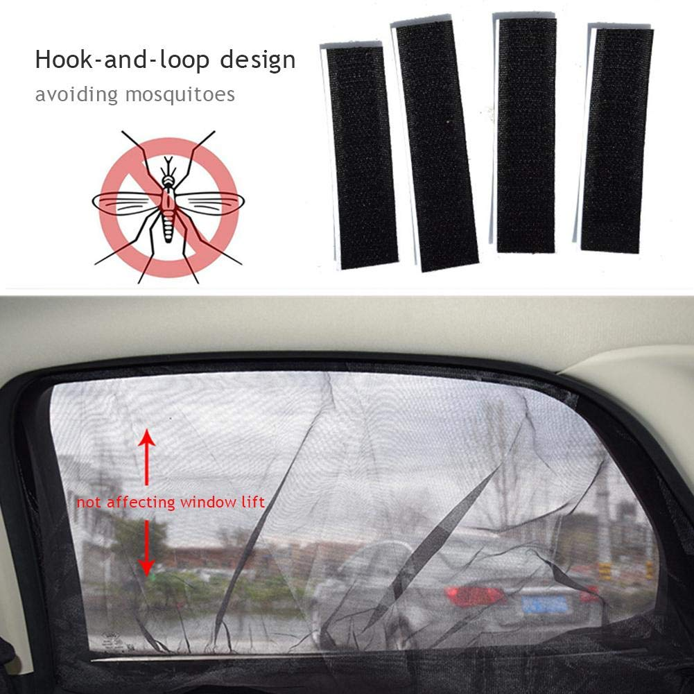 Suppemie Car Side Window Sun Shade Mesh Mosquito Net for Car Provides Maximum UV Protection allowing you to open and close the window 50cm 2PCS 110